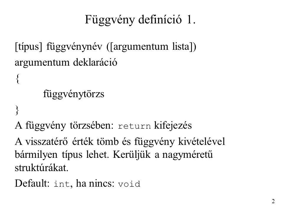 Függvény definíció 1. [típus] függvénynév ([argumentum lista])